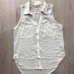 Lush Cream White Collar Buttonup Sleeveless Blouse